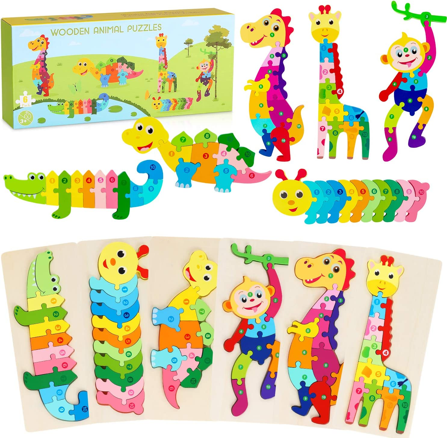 Wooden Toddler Puzzles 6 Pack Animal Shape Jigsaw Puzzles Interlocking /& Numbers Rainbow Kids Montessori Toys Sorting Stacking Game Early Learning Educational Gift Game for Ages 2 3 4 5 Boys Girls