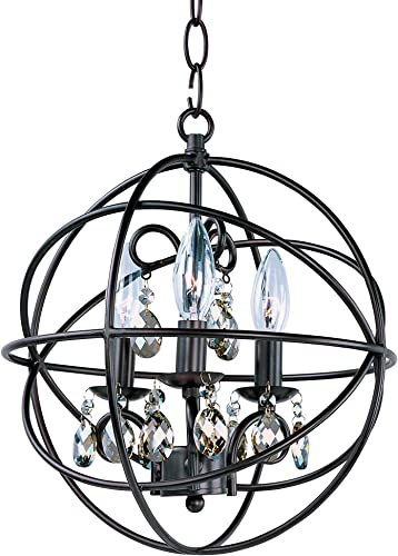 Maxim 25140OI Orbit 3-Light Pendant Single-Tier Chandelier, Oil Rubbed Bronze Finish, Glass, CA Incandescent E12 Incandescent Bulb , 2.4W Max., Damp Safety Rating, 3000K Color Temp, Standard Triac Lutron or Leviton Dimmable, Clear Bubble Glass Shade Material, 336 Rated Lumens