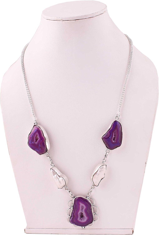 Neerupam Collection Collar de Piedras Preciosas de Cuarzo Natural y Perlas en joyería de Plata Alemana para Mujer