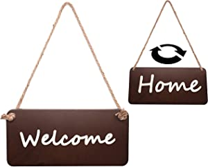 D.N Wooden Welcome Sign for Front Door (12 x 6 Inches) Reversible Outdoor Welcome Signs for Front Porch Door Decorations |Welcome Home Sign with Hanging String |Farmhouse Porch Decor for Home Front