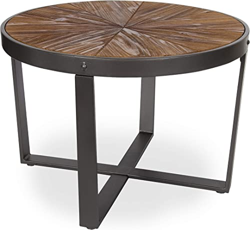 Kate and Laurel Farmhouse Gerhardt Round Wood and Metal Coffee Table