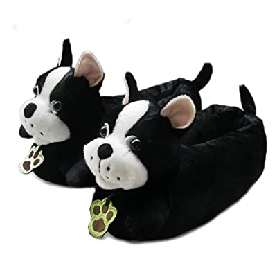 Friendly House Women's Fluffy Animal Slippers, Boston Terrier Dog (US Lady Size 7-9, Black) | Slippers