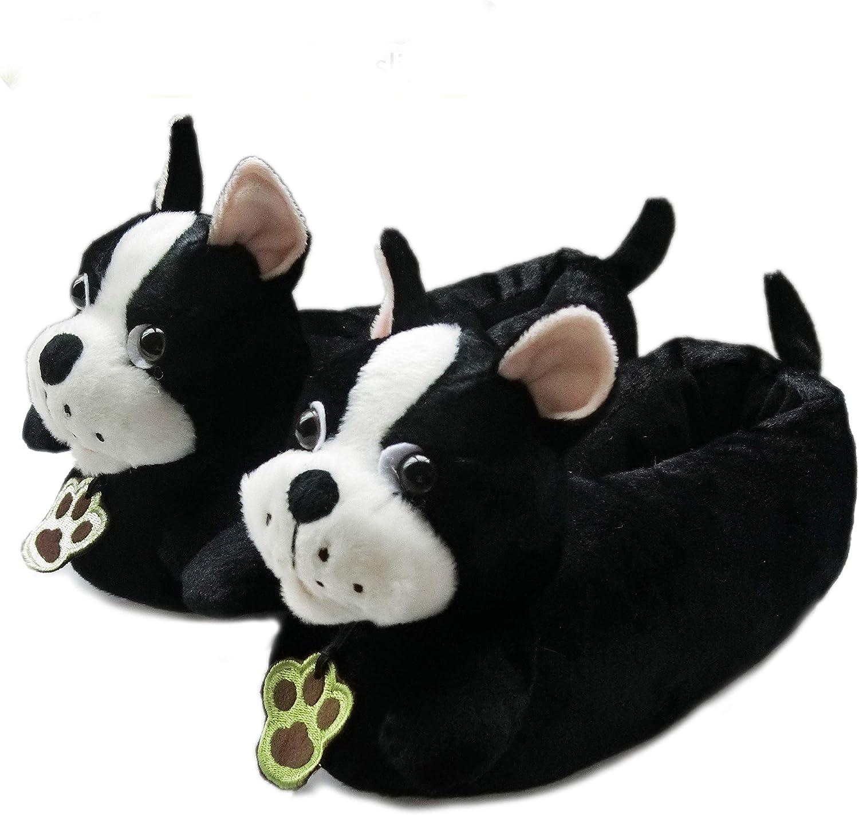 Friendly House Women's Fluffy Animal Slippers, Boston Terrier Dog