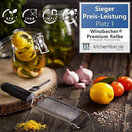 Winzbacher® Zitronenreibe Muskatnuss R Premium Zester Reibe I Parmesanreibe