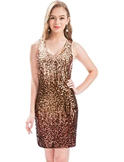 MANER Women s Sexy V Neck Sequin Glitter Bodycon Stretchy Club Mini Party  Dress 7333d45b0
