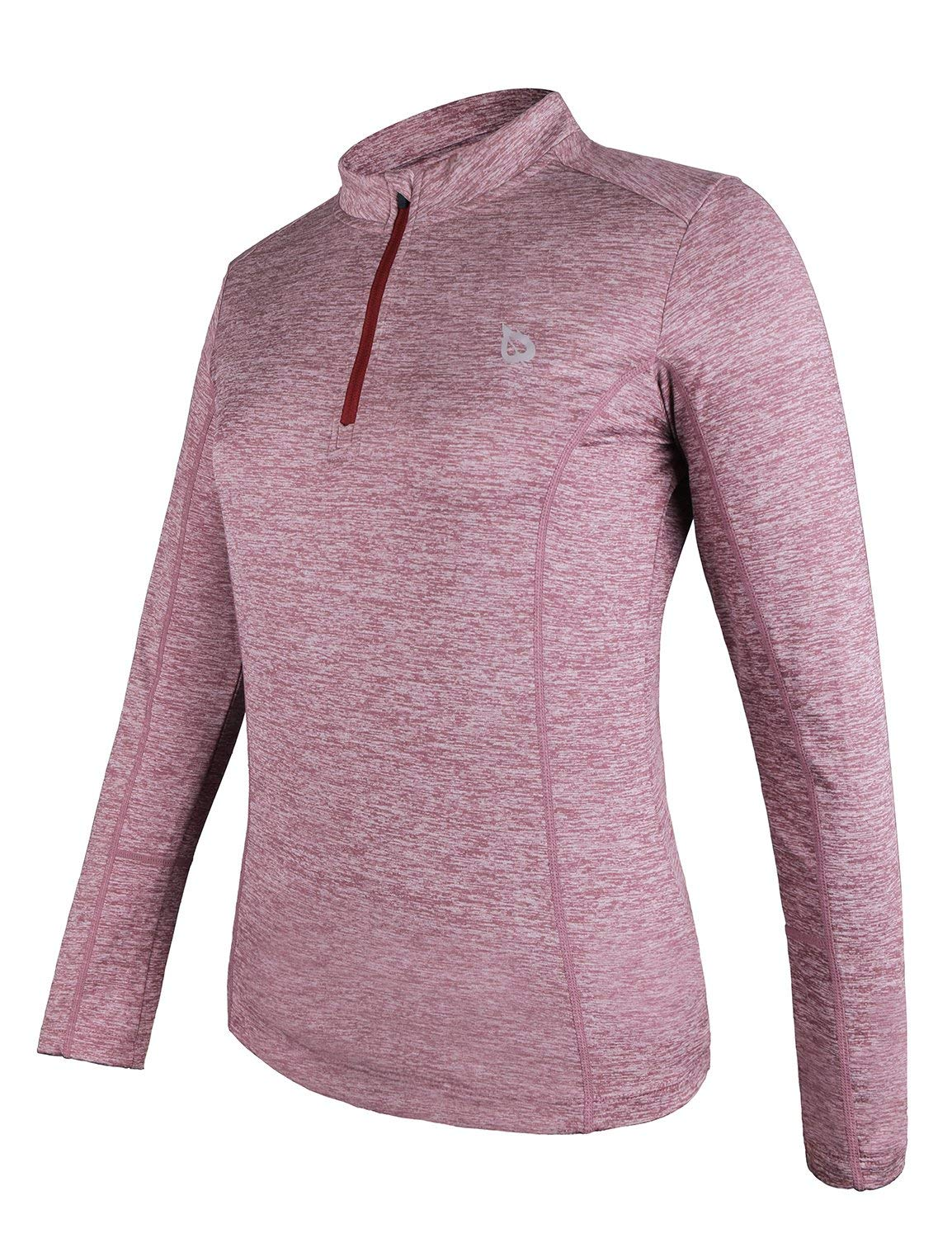 BALEAF Women's Thermal Running Shirts Long Sleeve 1/4 Zip Pullover Red XS by BALEAF