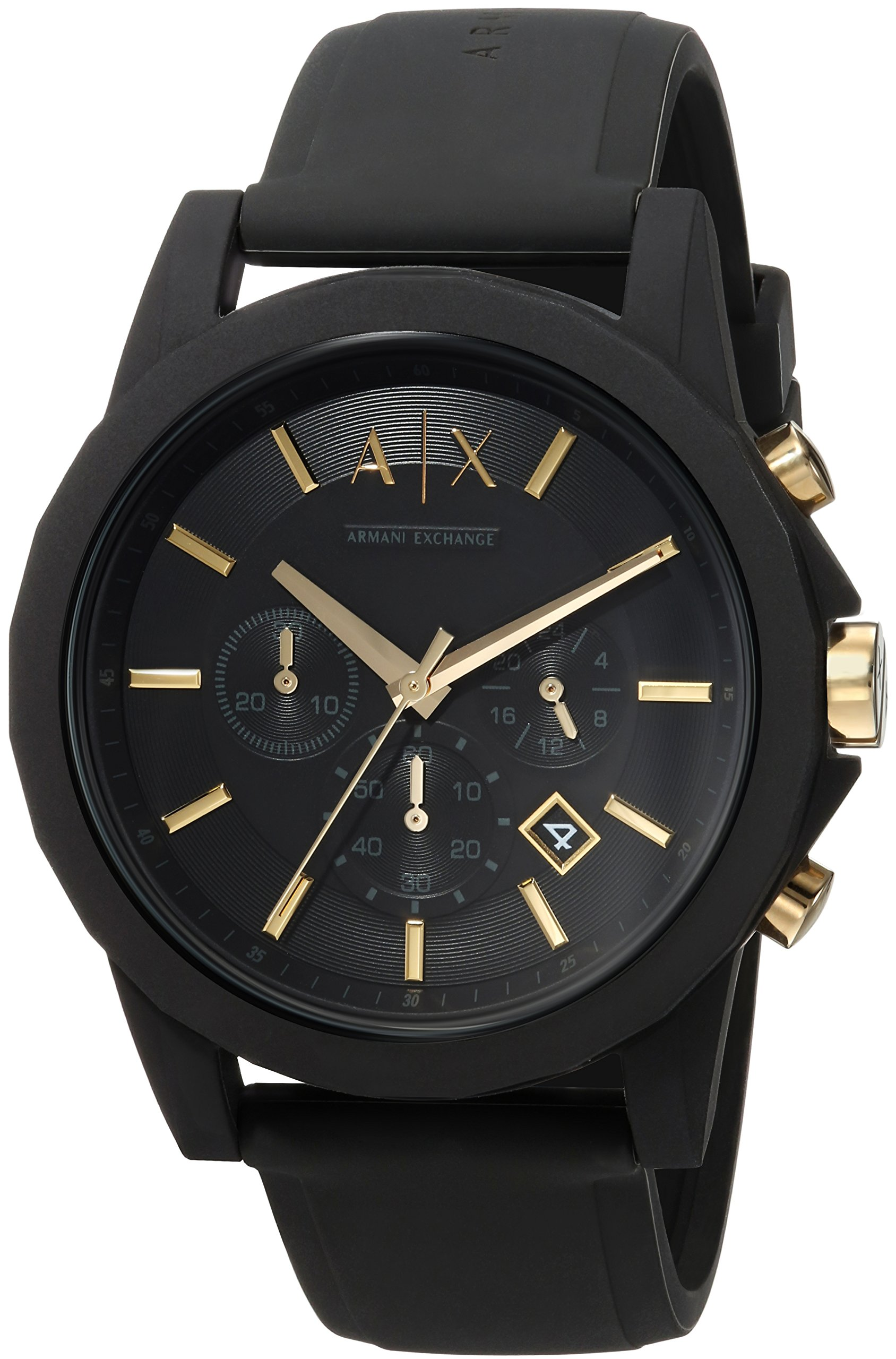 Armani Exchange Men's  Black Silicone Watch and Luggage Tag Gift Set AX7105 by A|X Armani Exchange