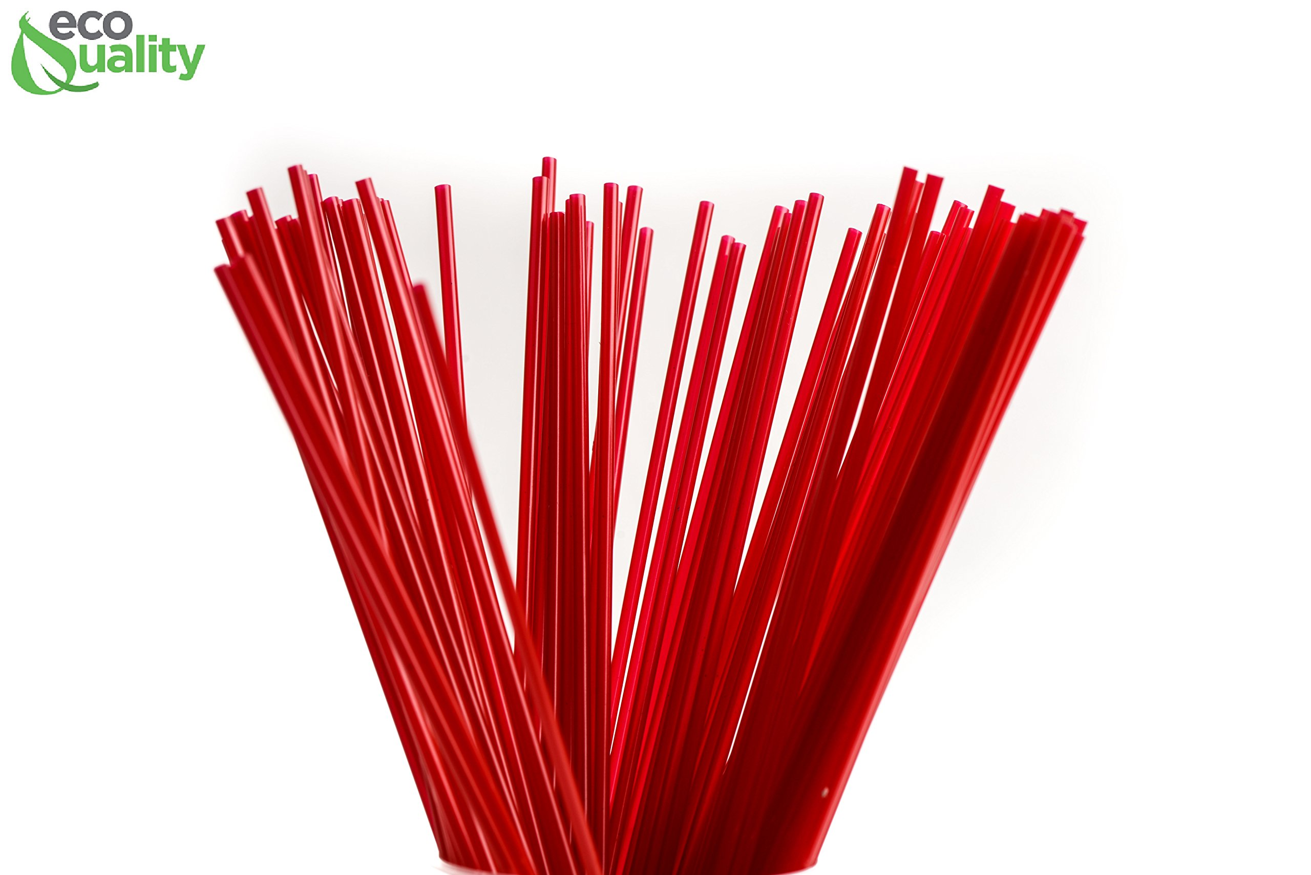 4000 Count Plastic Stirrer 8inch, Sip Stirrer, Sip Straw, For Coffee, Cocktail, Latte and Tea - 8 Inches, 1000/Box, Red
