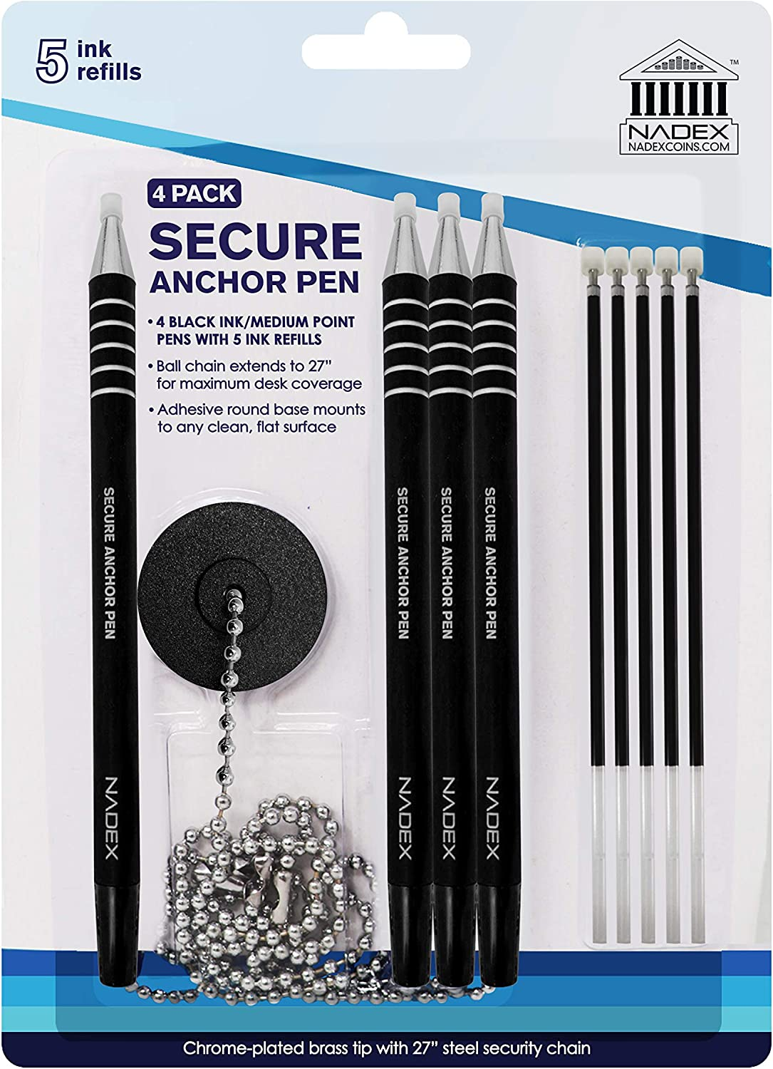 Nadex Ball and Chain Security Pen Set | 4 Pens, 1 Adhesive Mount, and 5 Refills (Black)