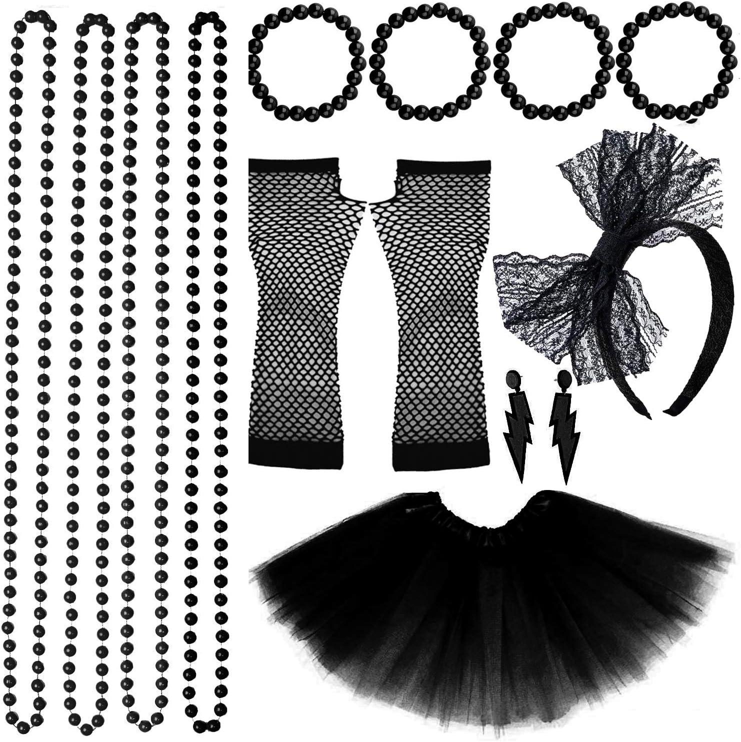 Ladies 1980s Lace Leggings Adults Neon Disco Diva Fancy Dress Accessory Womens