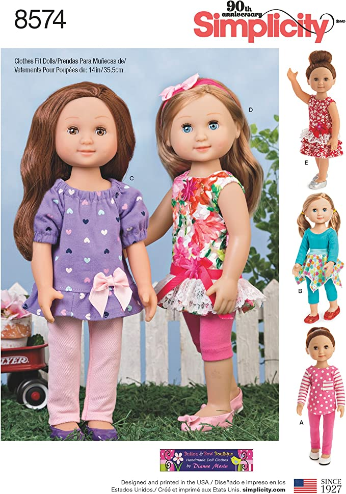 14/' Doll Clothes made to fit Wellie Wisher Lot 0f 4 Pajamas----Z02
