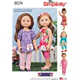 """Simplicity US8574OS 14"""" Doll Clothes Sewing Patterns by Wellie Wishers, One Size"""