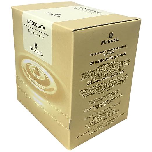 Amazon.com : Italian Premium Hot Chocolate - White Chocolate - By Manuel Italy. Favorite Drinking Chocolate Sachets 20 Counts 28 gr.