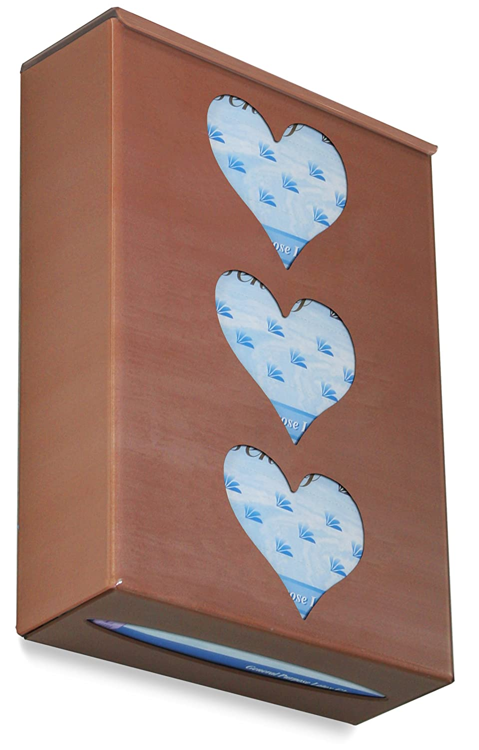 10 Width x 15 Height x 4 Depth 10 Width x 15 Height x 4 Depth TrippNT 52447 Ultimate Heart Triple Sparkling Canyon Copper Dual Dispensing Glove Holder