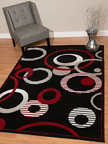United Weavers of America Dallas Hip Hop Rug 7 ft. 10 in. x 10 ft. 6 in. Black, Area Rug with Jute Backing, Circular Geometric Design
