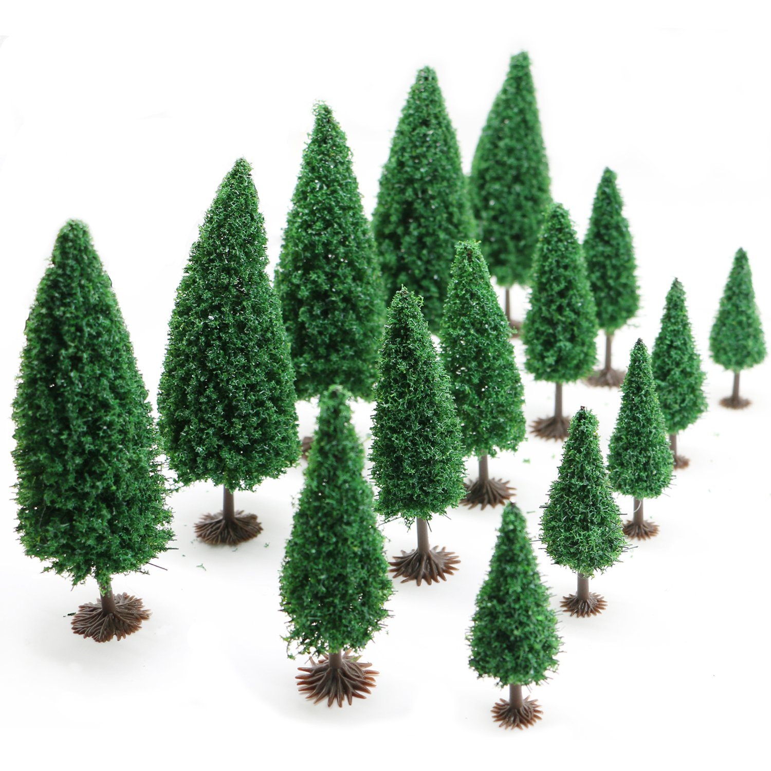 15pcs Mixed Model Trees with Base 2.6-4.3inch(6.5-11 cm),Jomass Model Train Scenery, Architecture Trees,Model Cedar Trees with Stands