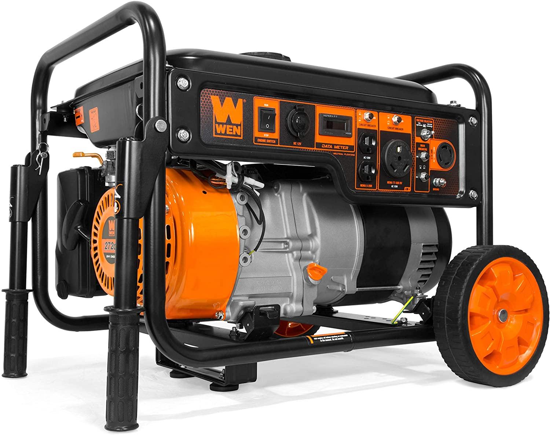 WEN GN6000 6000-Watt RV-Ready Portable Generator with Wheel Kit, CARB Compliant, Black