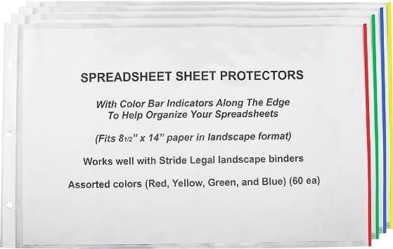 "Stride Sheet Protectors 8-1//2/""x14/"" 60//BX CL// AST Color Bars 61300"