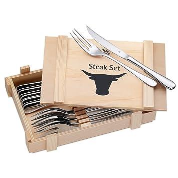 Wmf Steakbesteck 12 Teilig Steakgabel Steakmesser Für 6 Personen