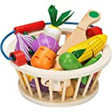 Victostar Magnetic Wooden Cutting Fruits Vegetables Food Play Toy Set with Basket for Kids (Vegetables)