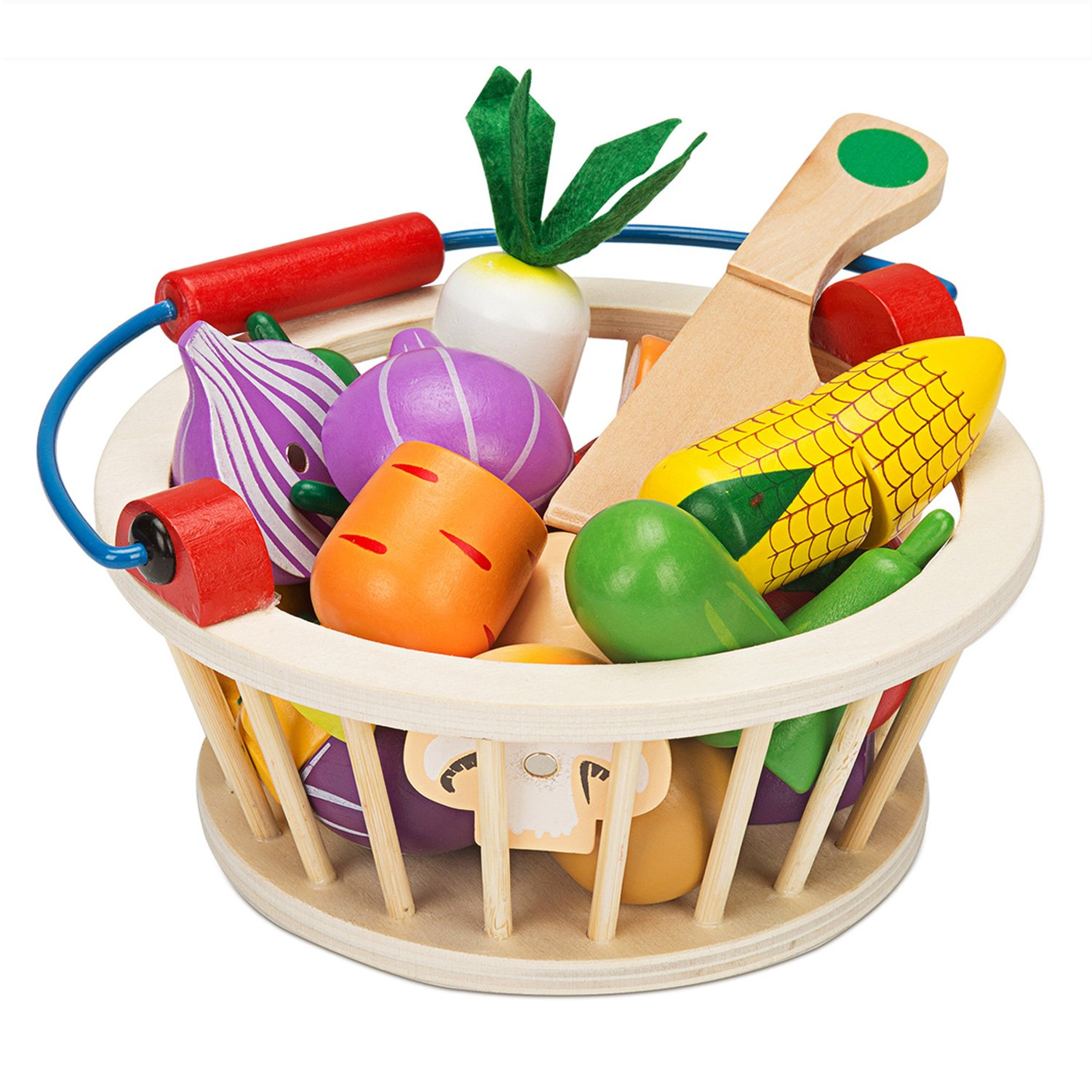 Victostar Magnetic Wooden Cutting Fruits Vegetables Food Play Toy Set with Basket for Kids (Vegetables) by Victostar