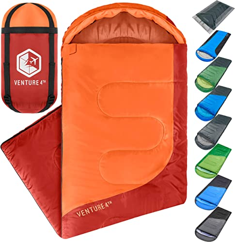Backpacking Sleeping Bag Lightweight Warm Cold Weather Sleeping Bags for Adults, Kids Couples Ideal for Hiking, Camping Outdoor Adventures Single, XXL and Double