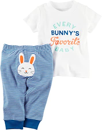 8205d3c17d83 Image Unavailable. Image not available for. Color: Carters Baby Boys 2-Piece  Easter Top & Pant Set Bunny ...