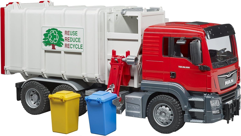Bruder 03761–Camión Basura Man TGS con 2contenedores–Rojo