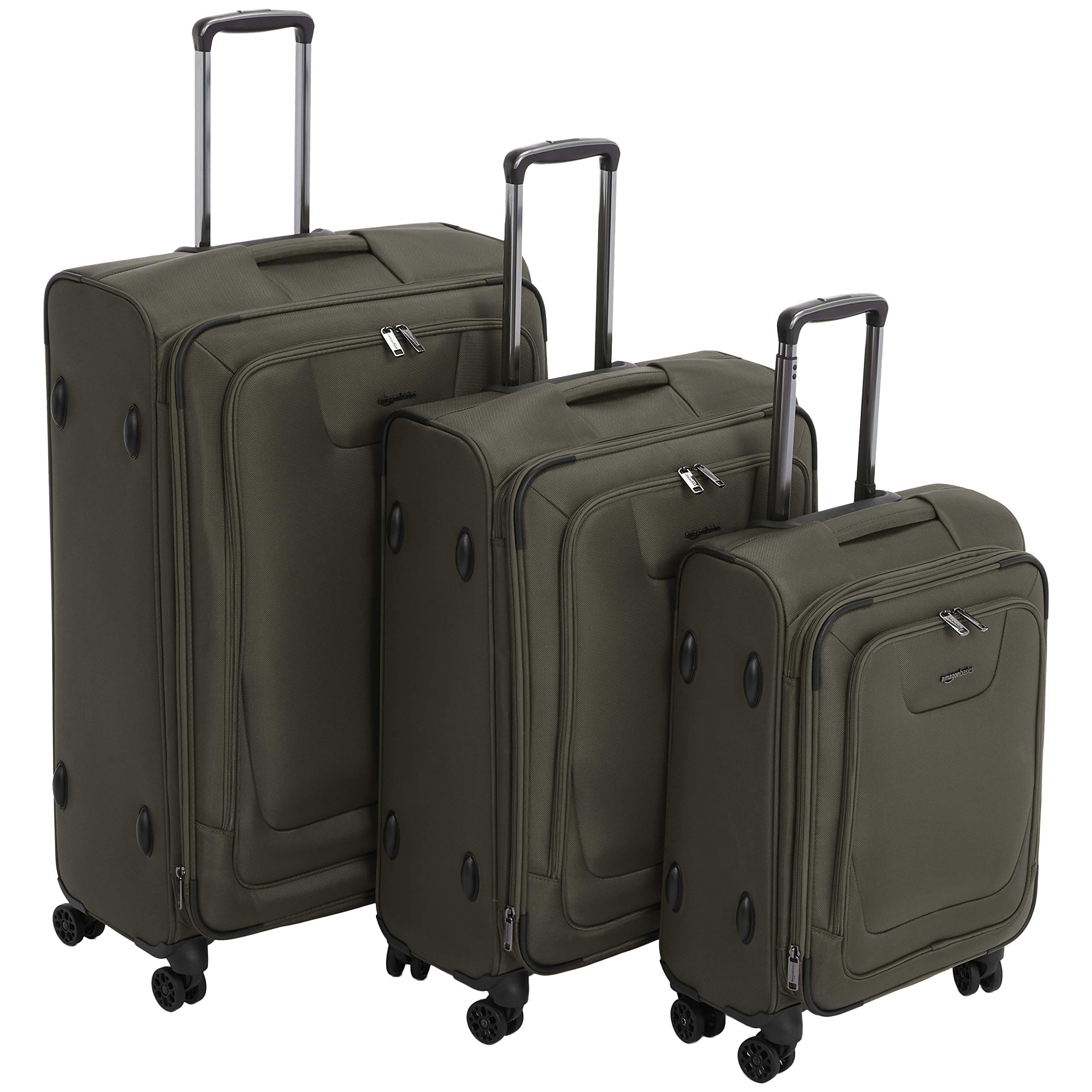 AmazonBasics Premium Expandable Softside Spinner Luggage With TSA Lock 3-Piece Set - 21/25/29-Inch, Olive