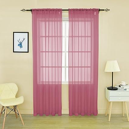 Amazon.com: HOLKING Sheer Window Cutains for Bedroom-Rod Pocket ...