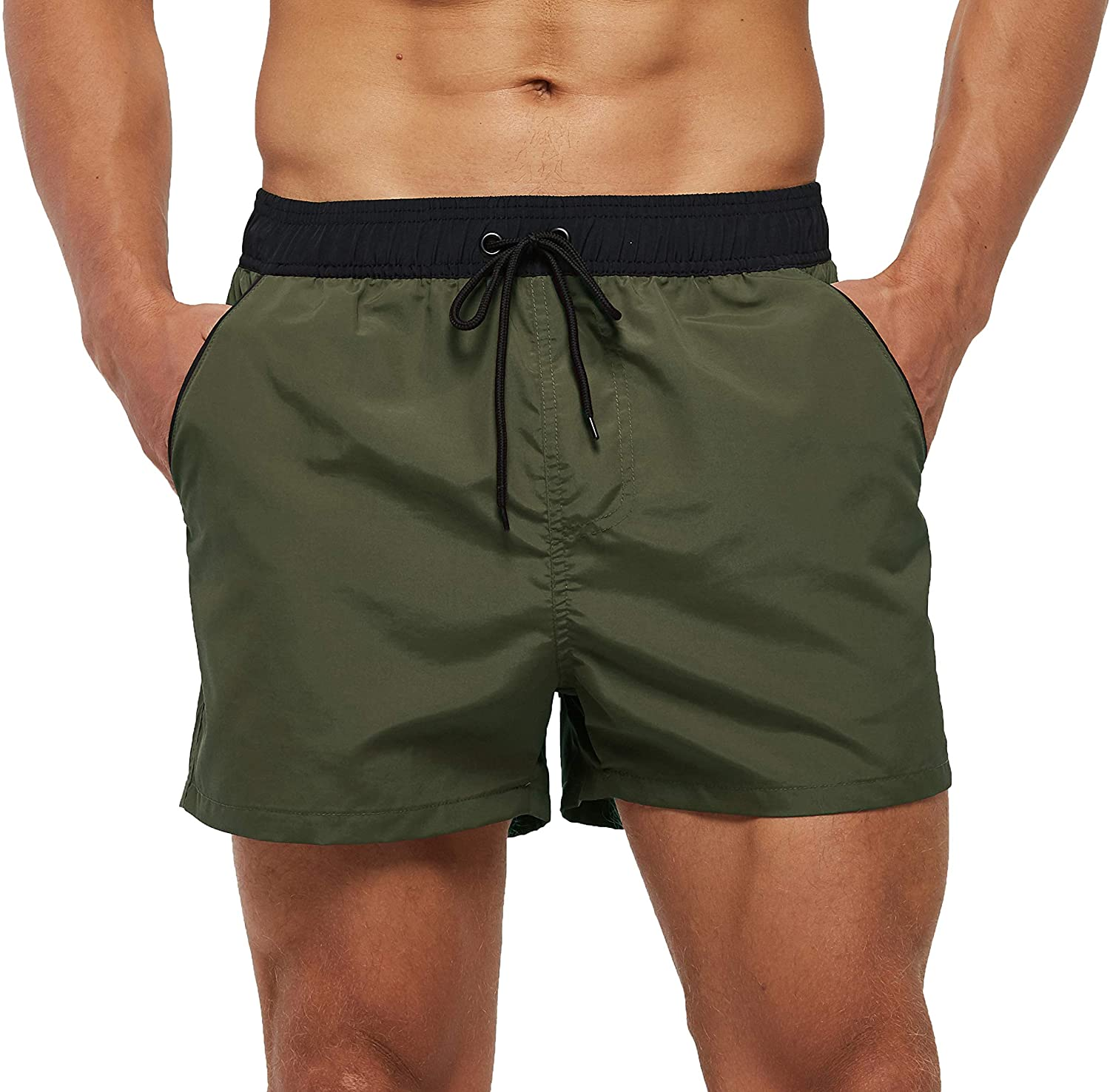 SILKWORLD Men's Quick Dry Swim Trunks Solid Swimsuit Sports Shorts with Back Zipper Pockets: Clothing