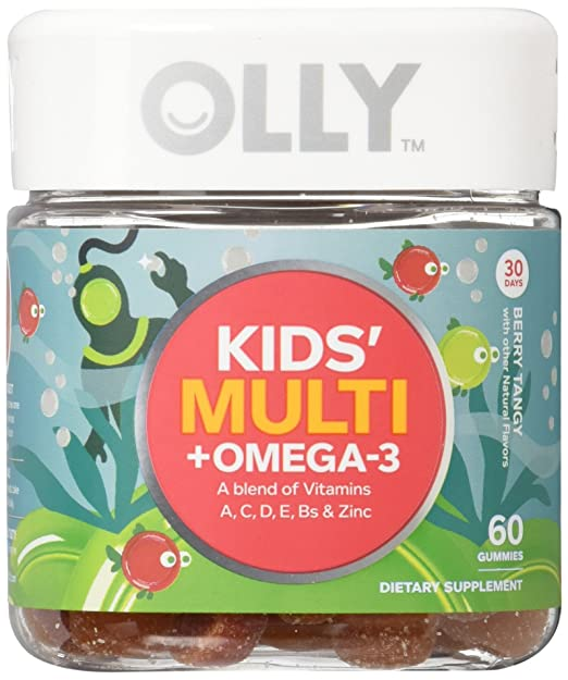 OLLY Kids Multi-Vitamin and Omega 3 Gummy Supplements, Berry Tangy, 60 Count