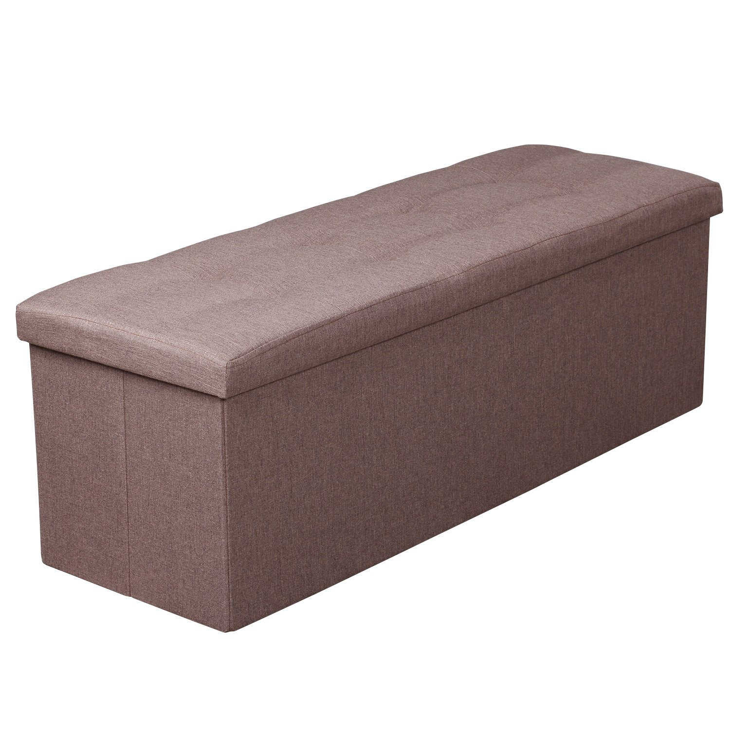 Felimoda Linen Fabric Folding Storage Ottoman Box Seat Foot Stool with Cushion Brown 110 x38 x38 cm