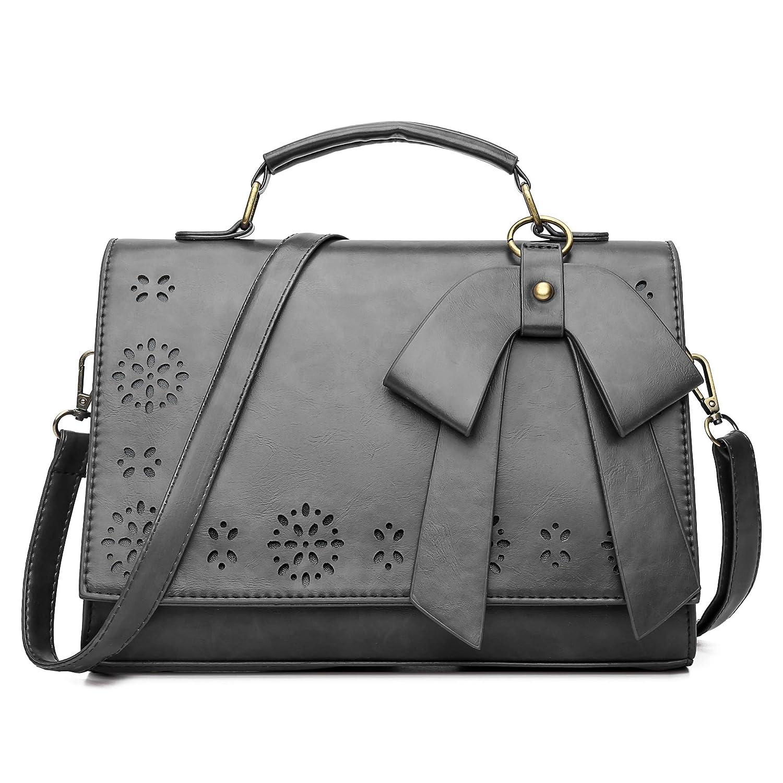 Coofig Women Small Top Zipper Oil Leather Satchel Shoulder Bag Vintage Crossbody Messenger Handbag Bag For Evening And Party
