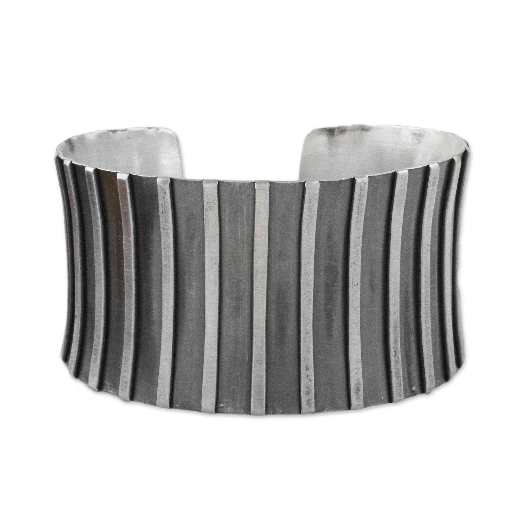 NOVICA .925 Sterling Silver Cuff Bracelet 'Contemporary Charm'