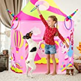 Retruth Kids Play Tent with Ring Toss, Unicorn Princess Tent w/ Mesh Window, Castle Tent Toys for Girls Age 2 3 4 5, Castle P