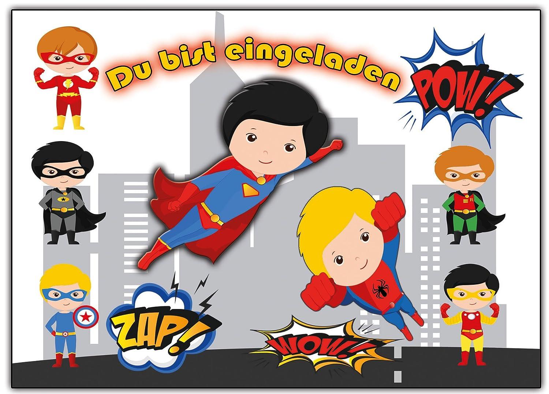 Superhelden Einladungskarten Enladung für Jungen und Mädchen 12 ...