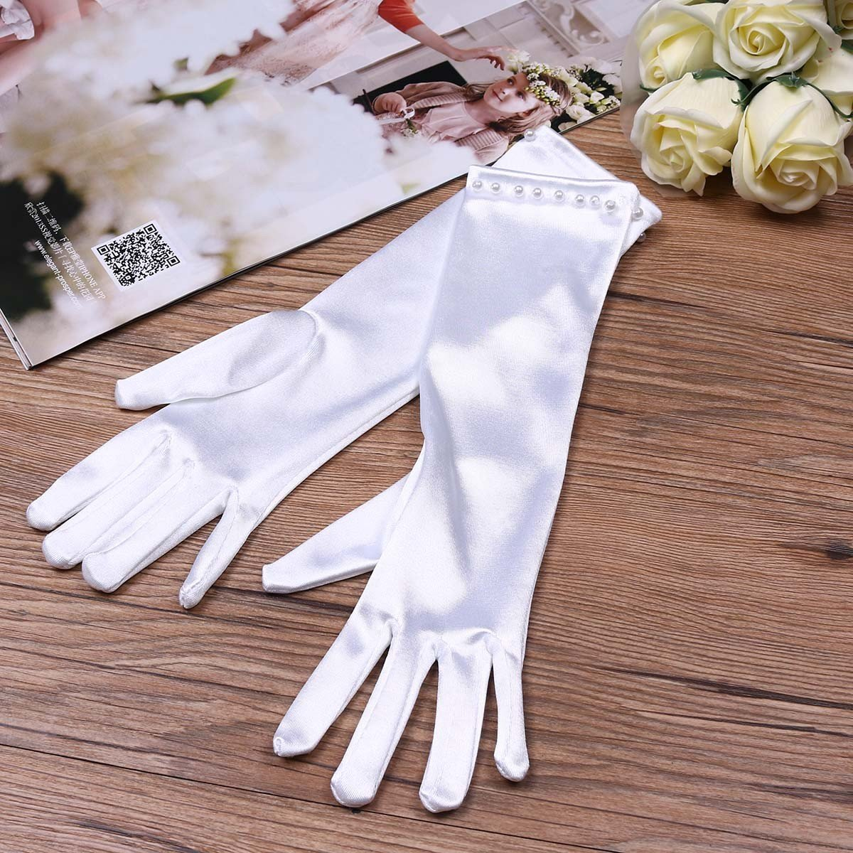 TiaoBug Girls Gorgeous Satin Fancy Stretch Dress Formal Pageant Party Gloves