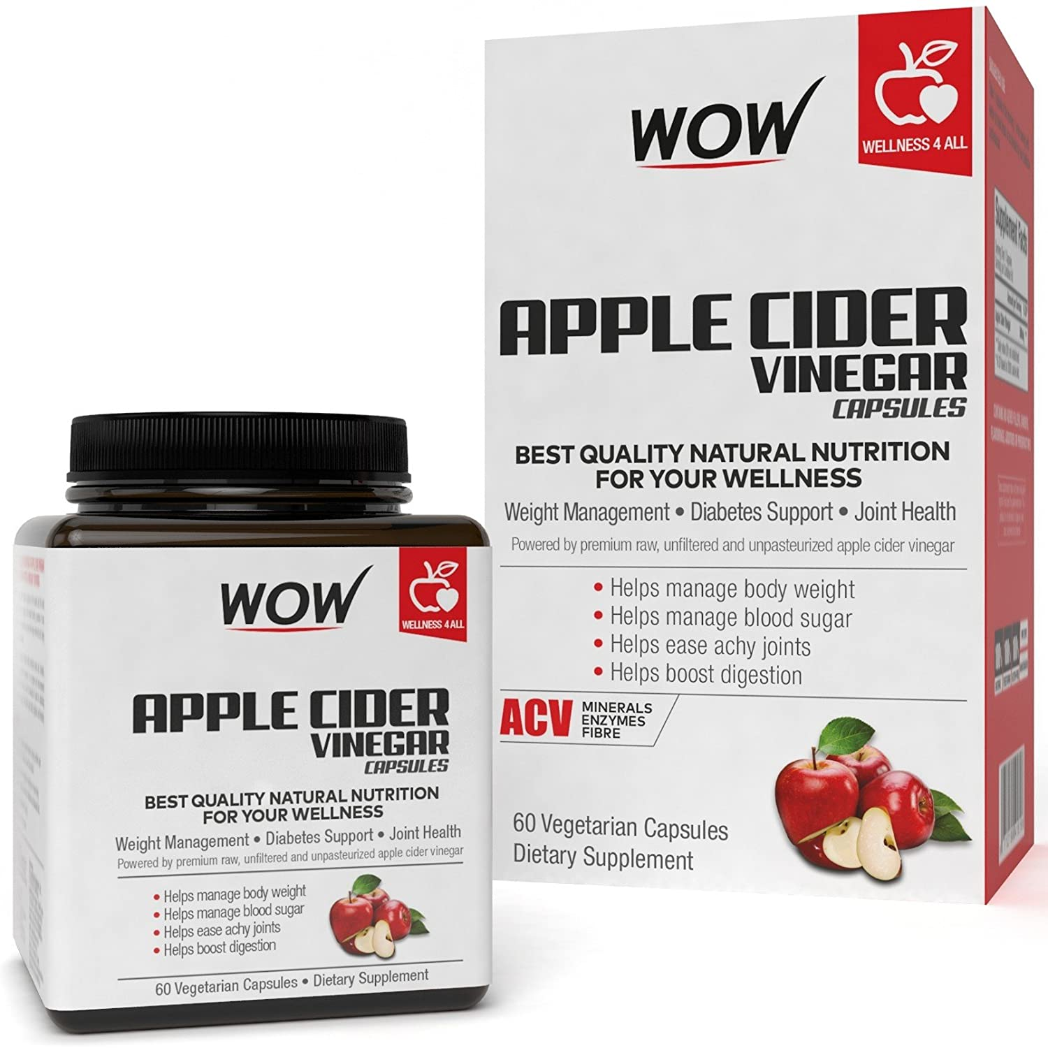 WOW Raw Apple Cider Vinegar 500mg - 60 Vegetarian Capsules