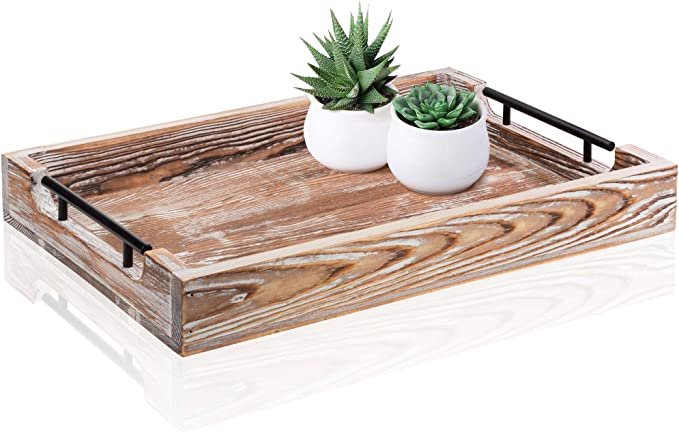 Amazon Com Large Ottoman Tray With Handles 16 5 X12 Coffee Table Tray Rustic Tray For Ottoman Wooden Trays For Coffee Table Wooden Serving Trays For Ottomans Ottoman Trays