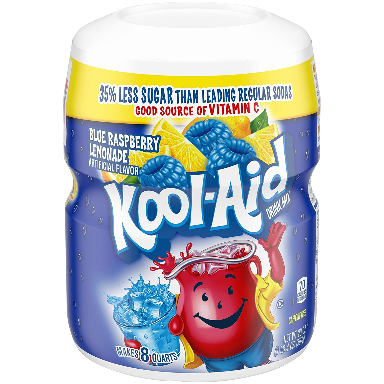 Kool Aid Ice Blue Raspberry Lemonade Drink Mix (20oz Canister, Pack of 6)