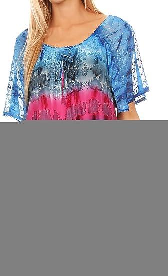 Sakkas 16786 - Monet Alto Largo del Tinte del Lazo Ombre Bordado de la Manga del Casquillo de la Blusa Top de la Camisa - Azul/Rosa - OS: Amazon.es: Ropa y ...