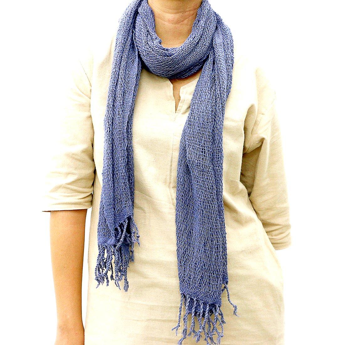 Taruron Woven Net Cotton Plain or Multi Colors Summer fashionable Scarf (Navy Blue)