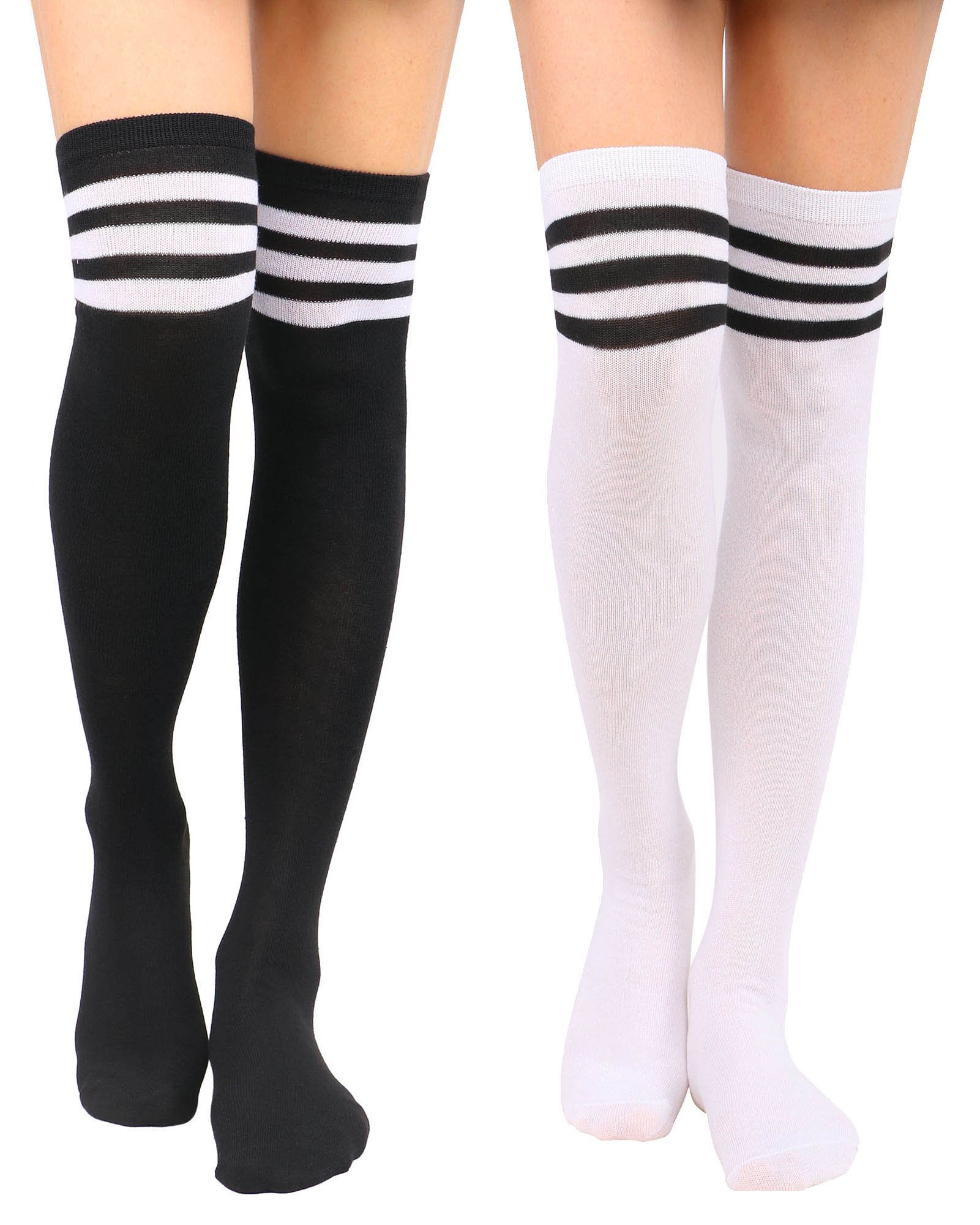 Jasmine Tube Socks Women's Retro Striped Long Knee High Socks Thigh High Stockings