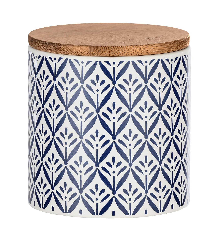 11 x 14 5 x 11 cm Capacidad: 0 Color Azul y Blanco Wenko 54095100 Lorca Caja de almacenaje con Tapa de bamb/ú cer/ámica 95 L