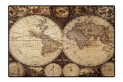 Amazon com: Area Rug Image of Old Map in 1720s Nostalgic
