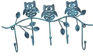 Owlgift Decorative Tree Branch & Owls Wall Mounted Metal 5 Coat Hook Clothing/Towel Hanger Storage Rack, Turquoise