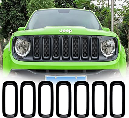 7pcs Black ABS Front Grill Grille Inserts for 2015-2017 Jeep Renegade