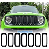 Yoursme Front Grill Guard Black ABS Grille Insert Cover Trim for 2015 2016 2017 2018 Jeep