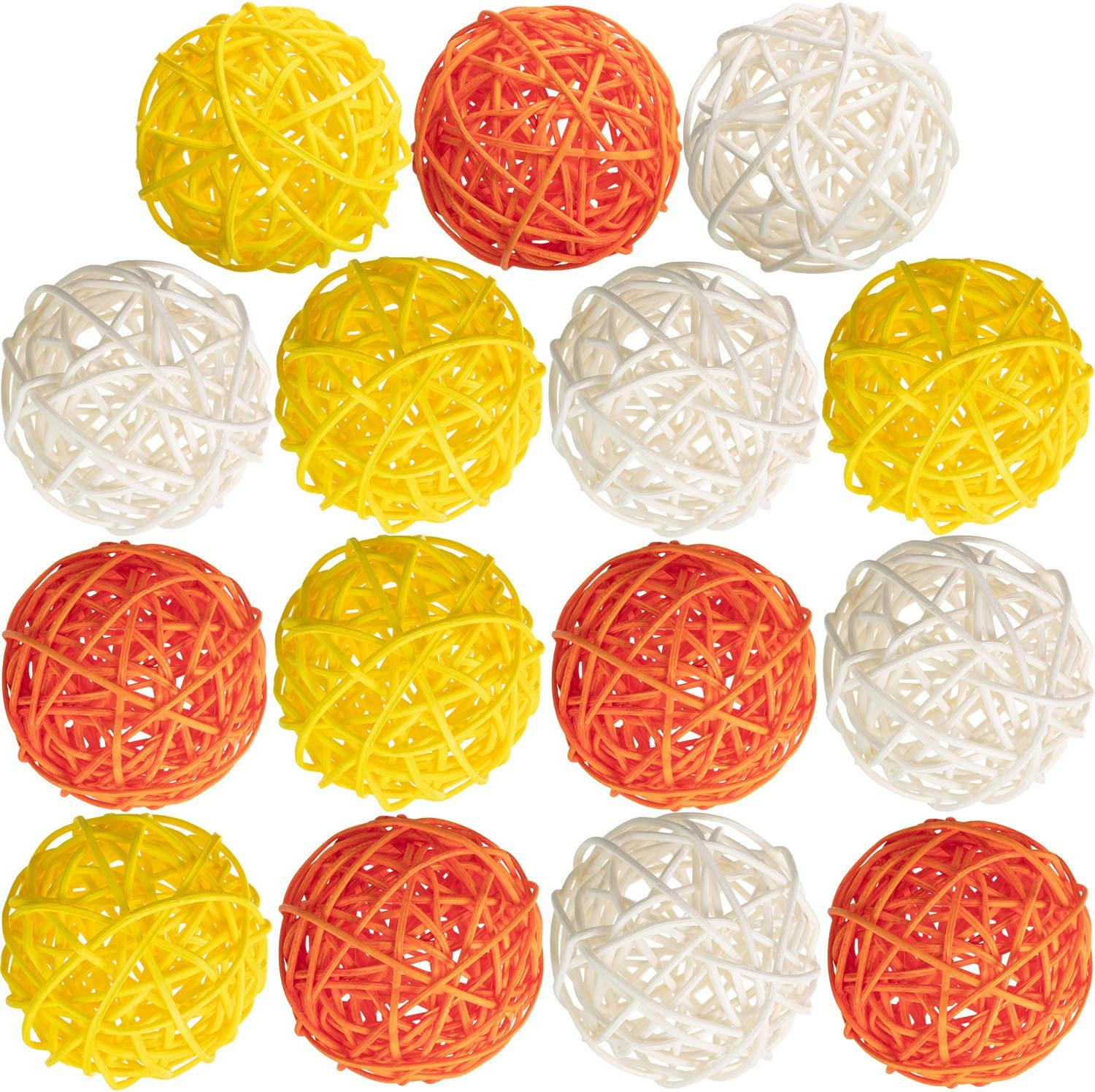 Aromatherapy Accessories Yellow Gray White Yaomiao 15 Pieces Wicker Rattan Balls Decorative Orbs Vase Fillers for Craft Project Baby Shower Wedding Table Decoration Diameter 2 Inch Themed Party